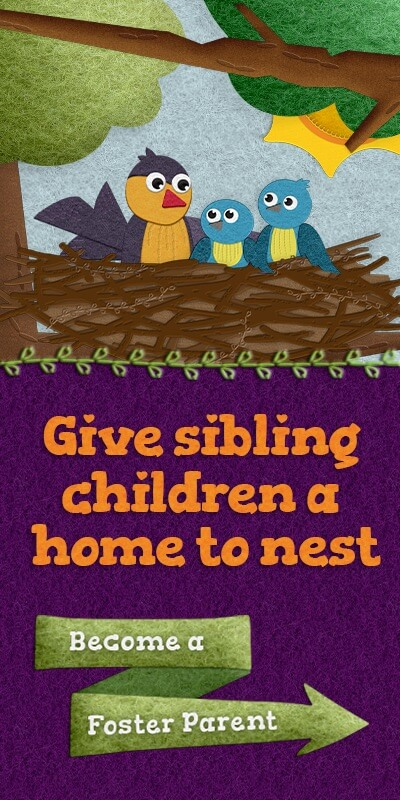 Give sibling children a home to nest. Become a Foster Parent