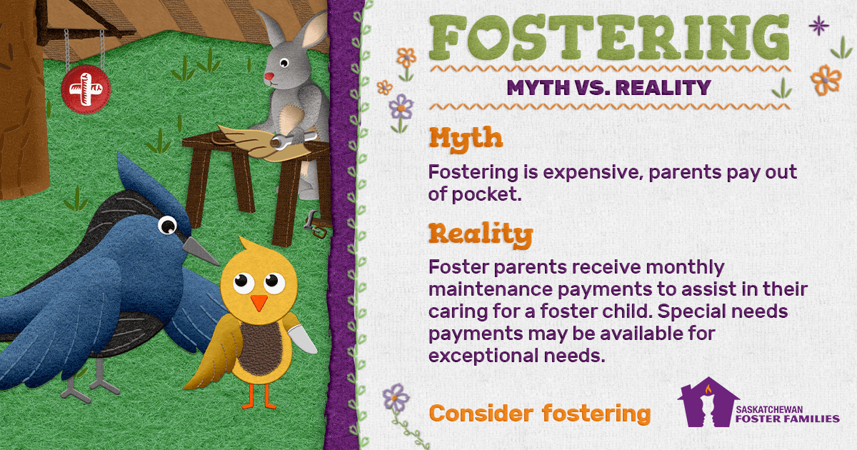 Fostering Myth vs Reality - Myth: Fostering is expensive, parents pay out of pocket. Reality: Foster parents receive monthly maintenance payments to assist in their caring for a foster child. Special needs payments may be available for exceptional needs. Consider fostering.